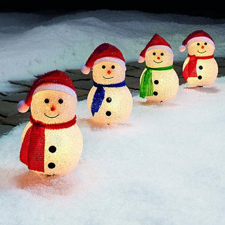 christmas set of 4 snowman pathway markers indoor and outdoor decorations