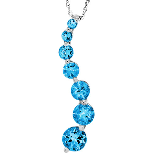 1.864 Carat T.G.W. Swiss Blue Topaz 10kt White Gold Journey Pendant, 18""