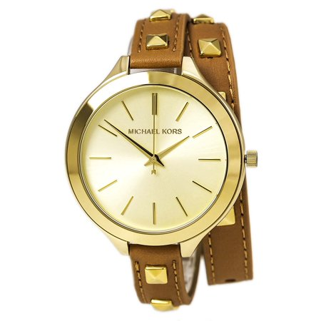 51f029e09d4c Michael Kors - MK2309 Women s Slim Runway Gold Dial Double Wrap Brown  Leather Strap Watch - Walmart.com