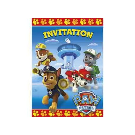 PAW Patrol Invitations, 8pk - 80s Theme Birthday Invitations