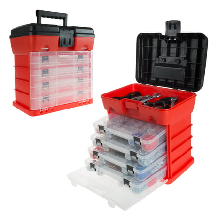 Little Red Tool Box - Storage and Tool Box- Durable Organizer Utility Box with 4 Compartments for Tools, Hardware, Small Parts and More by Stalwart (Red)