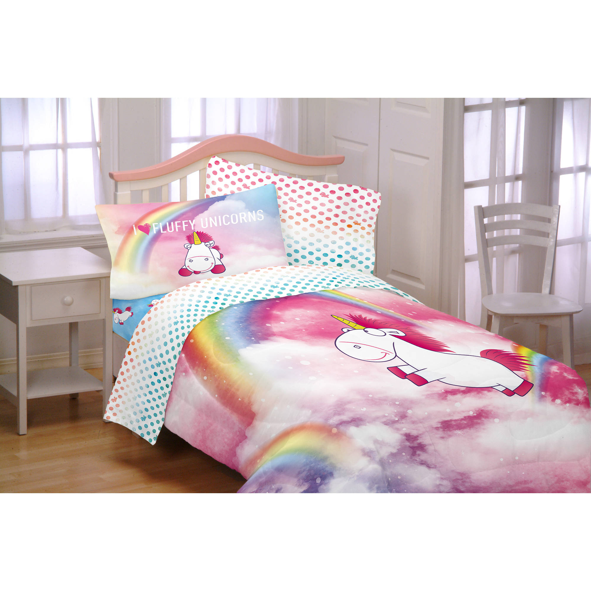 Despicable Me Minons Fluffy The Unicorn Fluffy Rainbows Kids Bedding Twin Full Reversible... by Franco