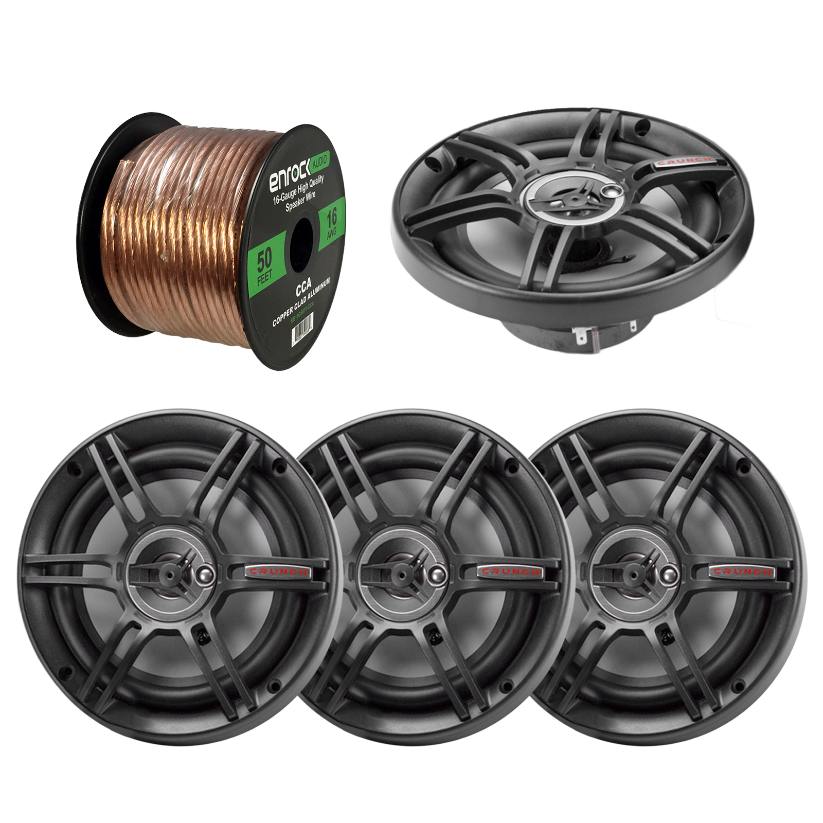 "2 x Crunch CS65CXS 6.5"" 3-Way Black Car Speakers (2 pairs), Enrock Audio 16-Gauge 50 Foot Speaker Wire"