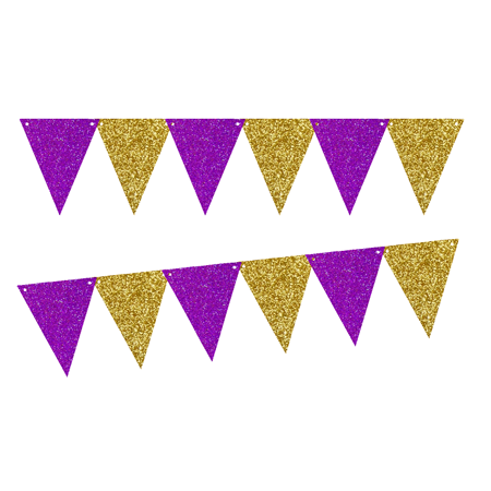 Purple Glitter Gold Gliter 10ft Vintage Pennant Banner Paper Triangle Bunting Flags for Weddings, Birthdays, Baby Showers, Events & Parties - Penant Banner