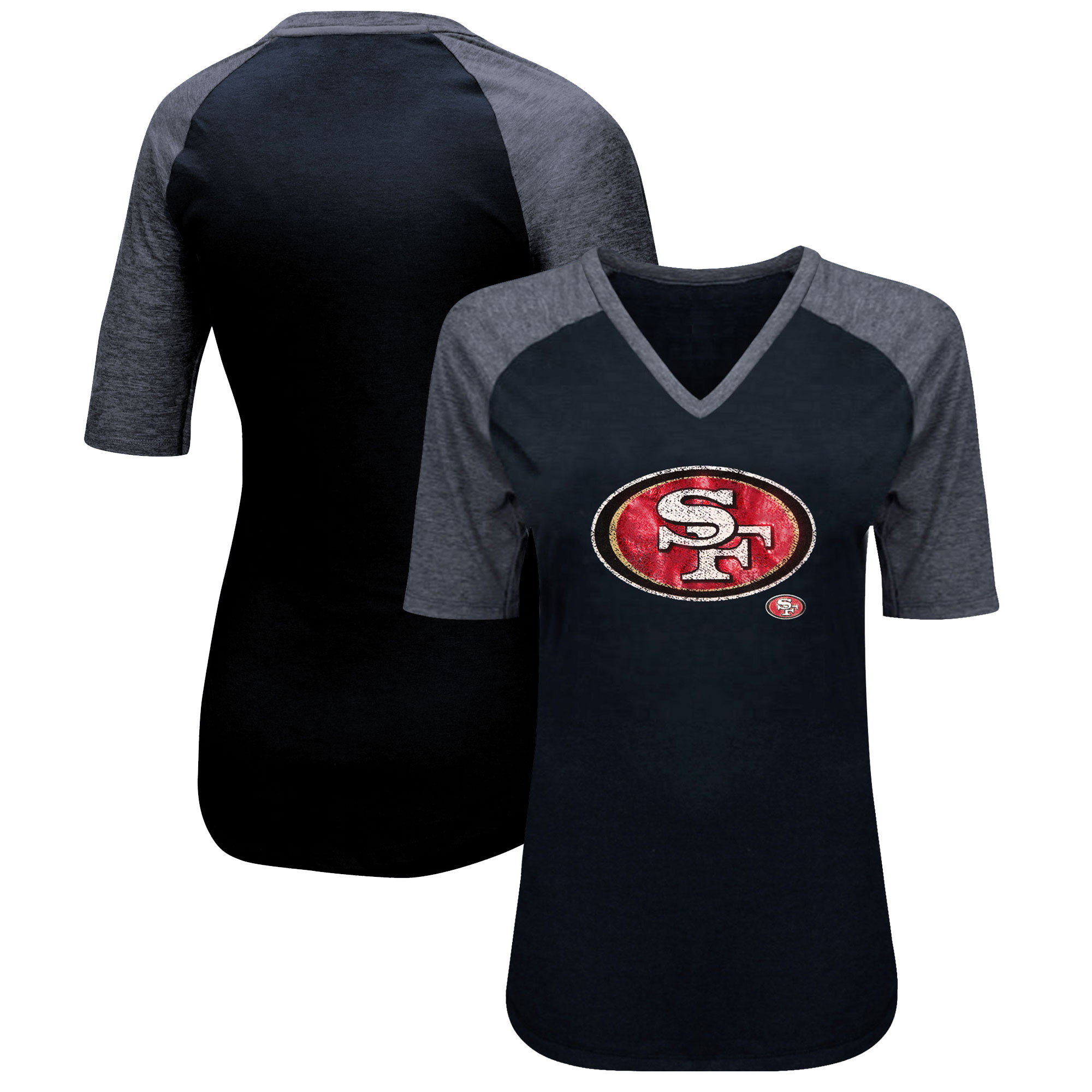 San Francisco 49ers Majestic Women's Highlight Play Half Sleeve Raglan Plus Size T-Shirt - Black/Heathered Black