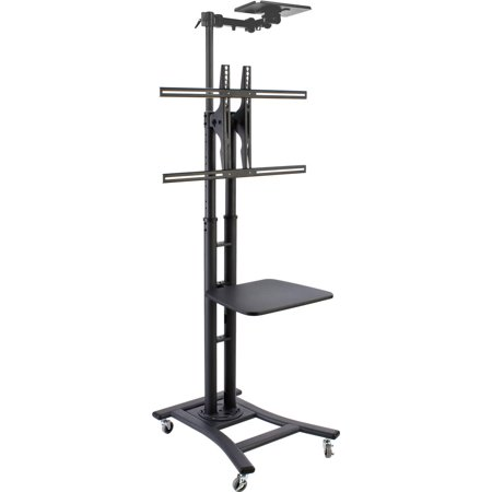"TV Floor Stand for 37"" to 70"" Television, Locking Wheels, Camera Tray and 19.5"" Shelf (Black Steel) (MBTVBKCSS)"