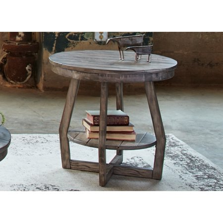 Pine Canopy  Redwood Grey Wash Round End Table
