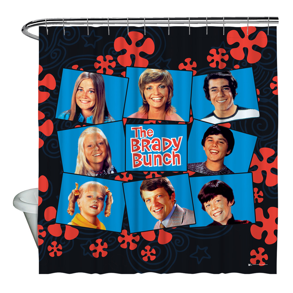 The Brady Bunch Squares Shower Curtain White 71X74