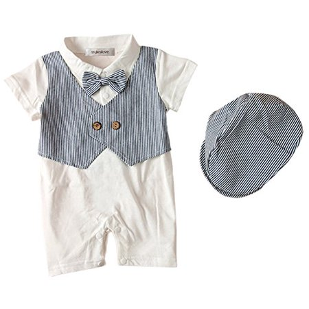 StylesILove Baby Boy Cute Pattern Tuxedo Romper and Hat, 2 Colors (12-18 Months , Blue), Tag Size:90](Infant Tuxedo Romper)