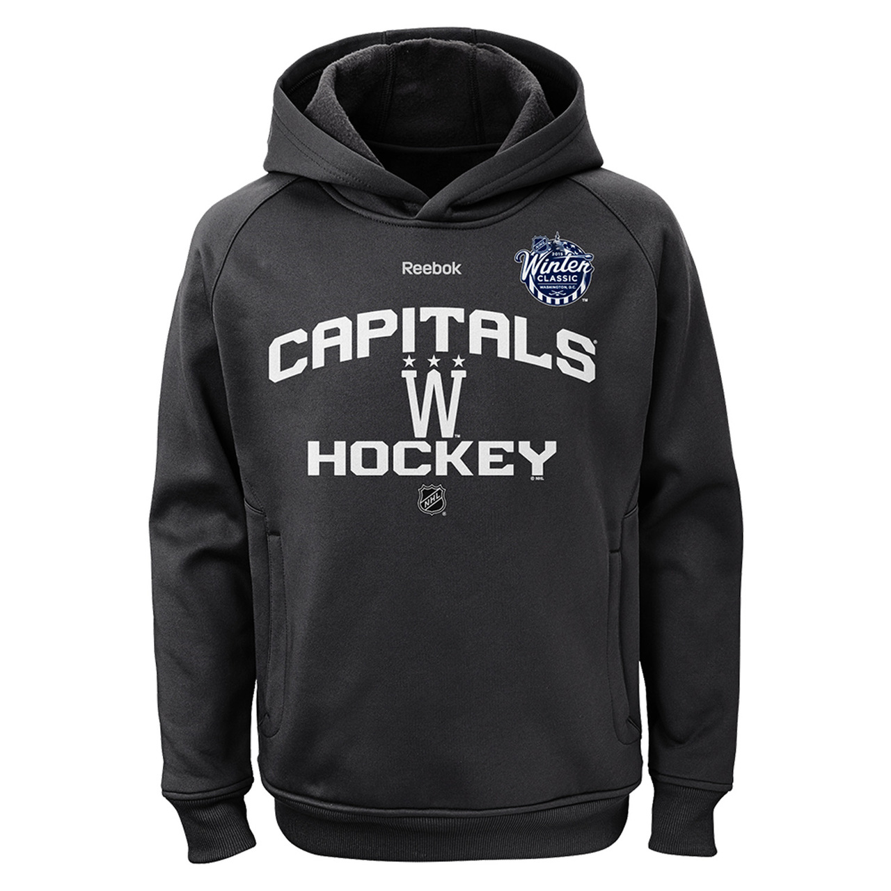 Washington Capitals Youth Performance Hooded Sweatshirt - Charcoal