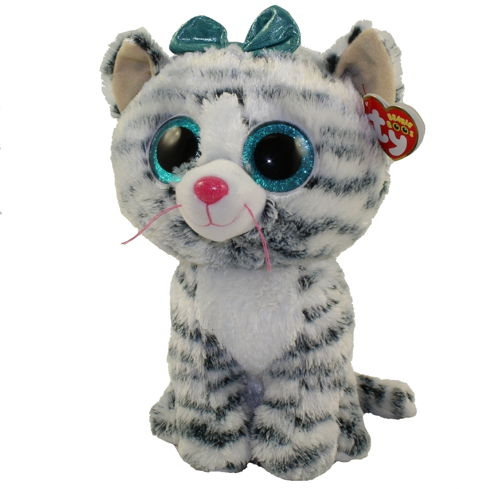 "6/"" TY Beanie Boos Glitter Eyes Plush Stuffed Animals Toys Kids Gray Curly Cat"