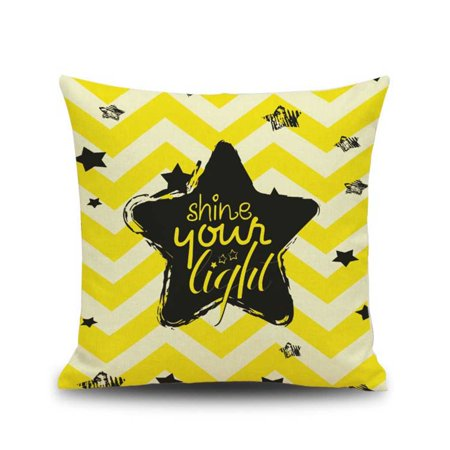 Elk Star Dandelion Printed Throw Pillow Case Yellow Cushion Covers for Sofa Bar Office Home](Yellow Star)