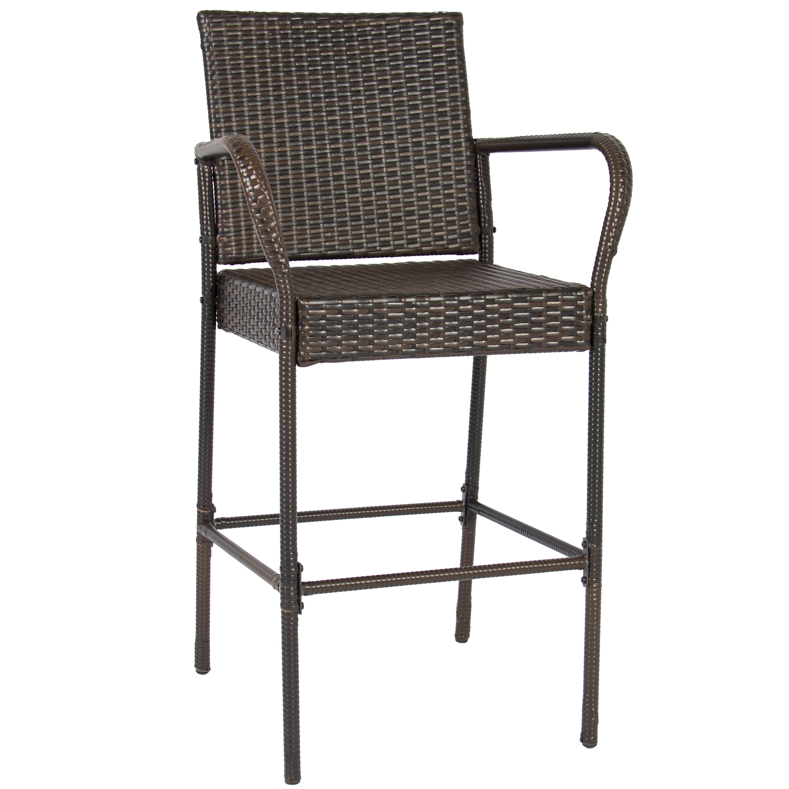 best choice products set of 2 outdoor brown wicker barstool outdoor patio furniture bar stool image