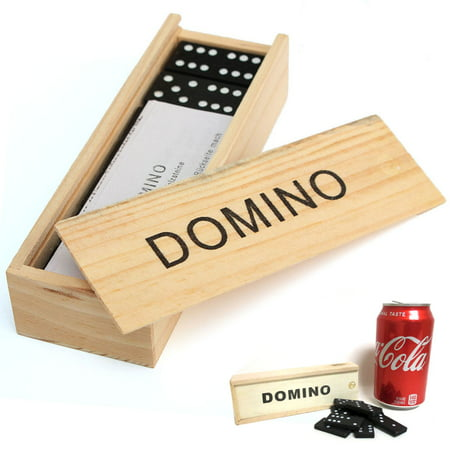 28 Pcs Domino Game Wooden Boxed Traditional Classic Blocks Play Set Toy Gift New ()