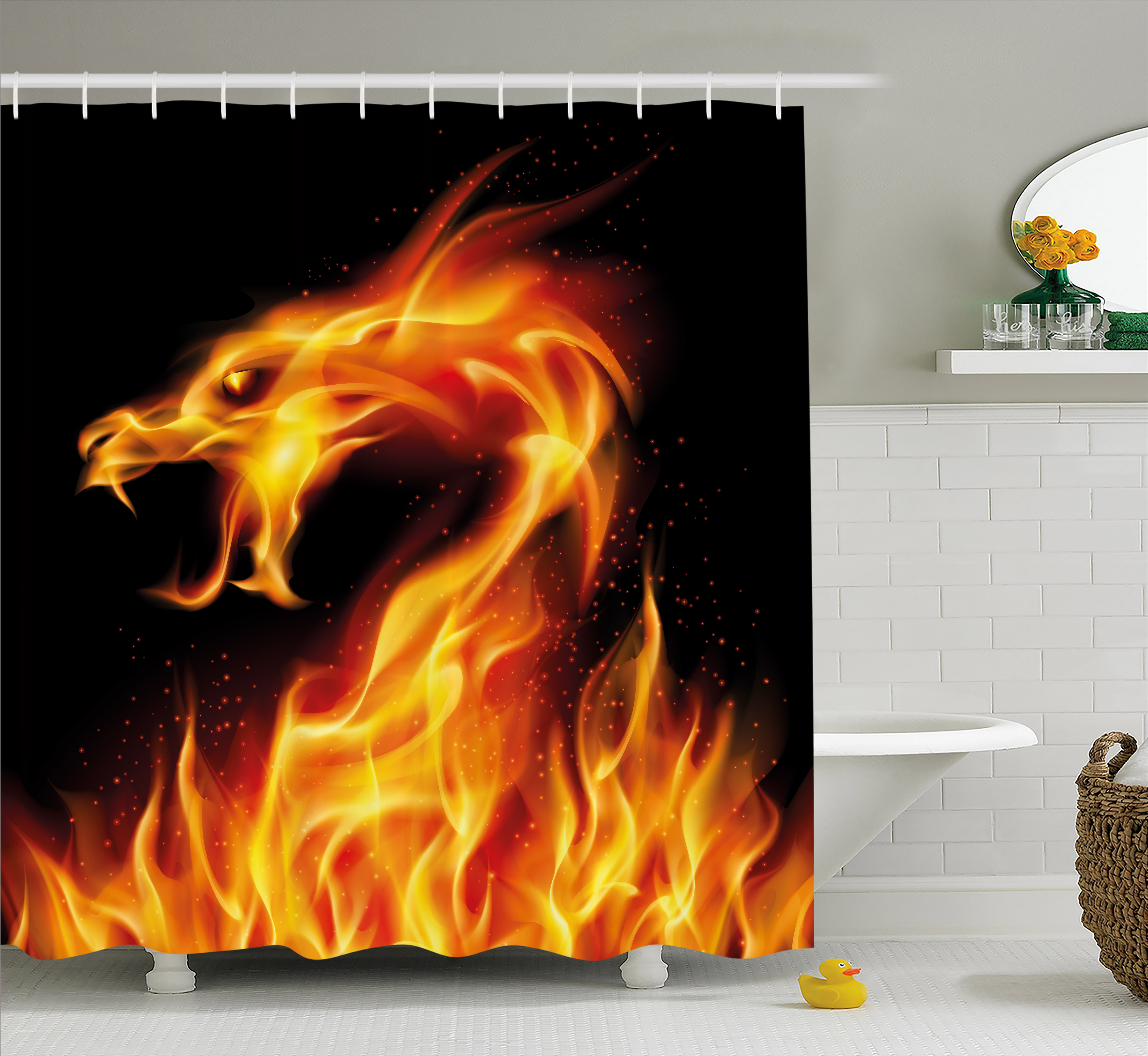 Dragon Shower Curtain, Abstract Fiery Creature on Black Background Legendary Fantastic Asian Illustration, Fabric Bathroom Set with Hooks, 69W X 84L Inches Extra Long, Marigold Red, by Ambesonne