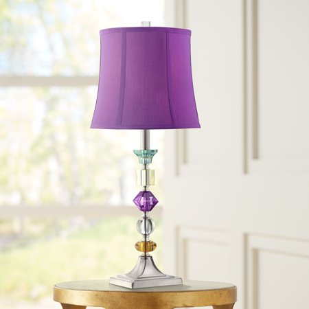 360 Lighting Multi Colored Modern Table Lamp Clear Stacked Gem Purple Shade for Kids Room Bedroom Bedside Nightstand ()