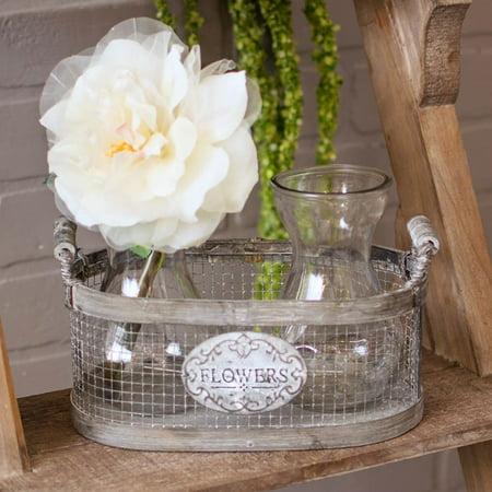 Table Decor Rustic Metal Wire Basket 2 Glass Jar Vases Distressed