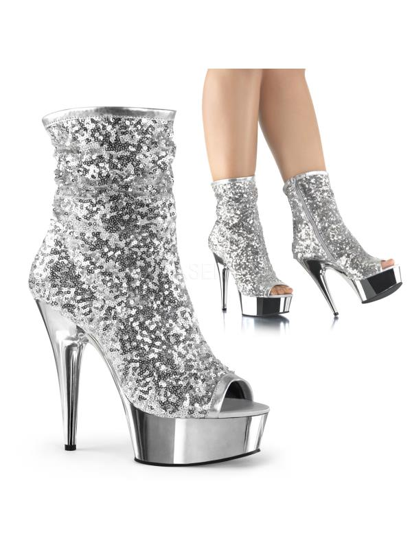 Slv Ankle/Mid-Calf Sequins/Slv Chrome Pleaser Platforms Ankle/Mid-Calf Slv Boots Size: 8 df12f5