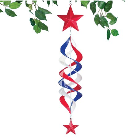Patriotic Metal Star Hanging Wind Spinner  - Outdoor Patriotic Decorative Accent for Yard or (Patriotic Garden Spinner)
