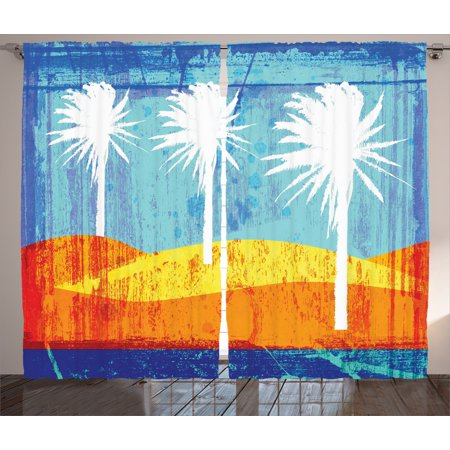 Abstract Art Curtains 2 Panels Set, Contemporary Motley Stained Distressed Tropic Beach with Palms Graphic Work, Living Room Bedroom Decor, Orange Blue White, by Ambesonne