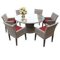 """TKC Oasis 7 Piece 60"""" Round Glass Top Patio Dining Set in Terracotta"""