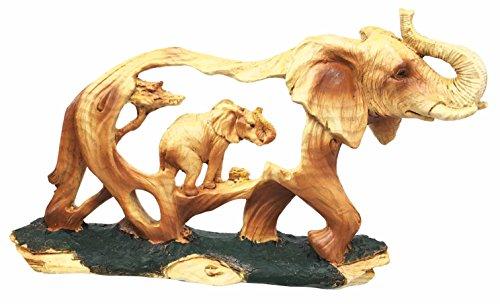 Rustic Faux Wood Resin Noble Majestic African Safari Elephant Wildlife Migration Scene Figurine Sculpture by Gifts & Decor