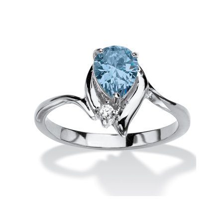 Pear-Cut Birthstone and Crystal Accent Ring in Silvertone - March- Simulated Aquamarine