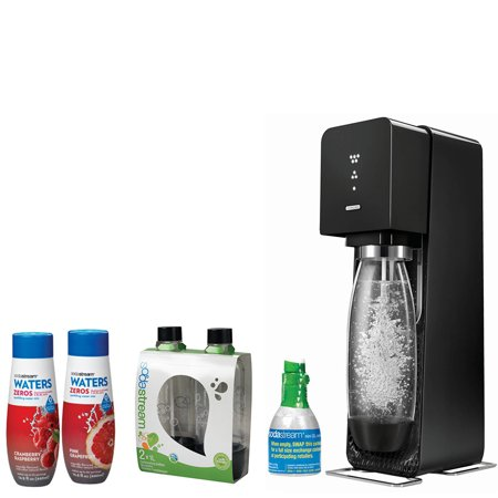 SodaStream Source Home Soda Maker Starter Kit, Black, 1L Carbonating Bottles Black, Waters Zeros w/ 2 flavor Pink Grapefruit & Cranberry Raspberry zero calorie