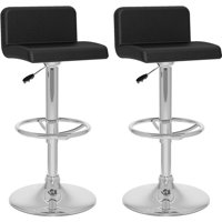CorLiving Low-Back Adjustable Leatherette Barstools, Set of 2, Black