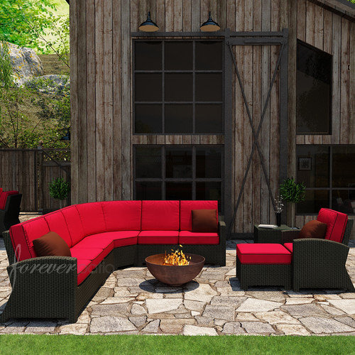 Forever Patio Barbados 7 Piece Sectional Deep Seating Group with Cushion