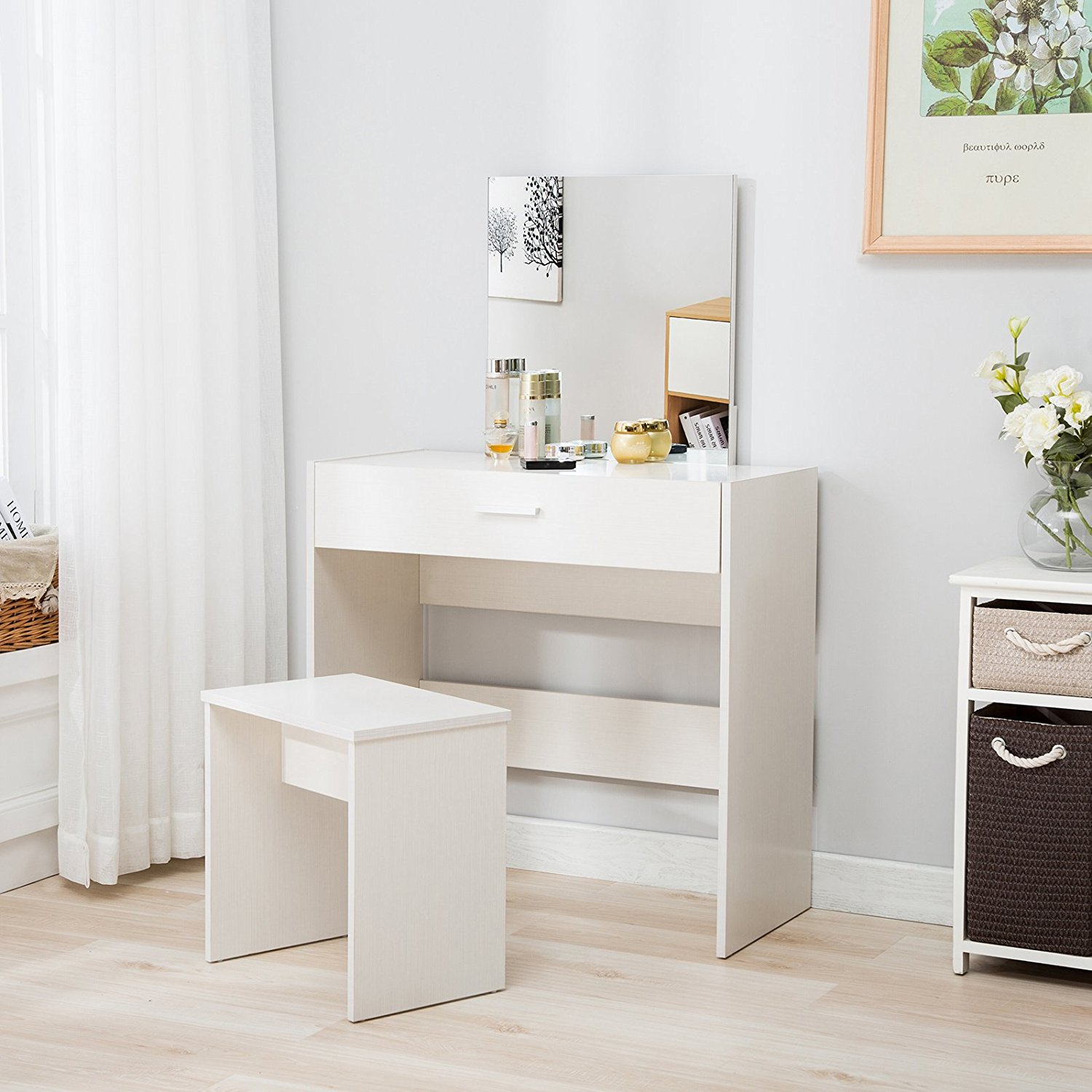 Mecor Vanity Makeup Table Set Dressing Table with Stool and Square MirrorWhite & Mecor Vanity Makeup Table Set Dressing Table with Stool and Square ...