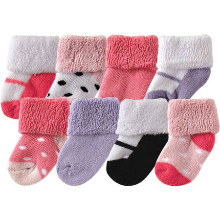 Terry Cloth Roll Cuff Crew Socks, 8-Pack (Baby Girls)