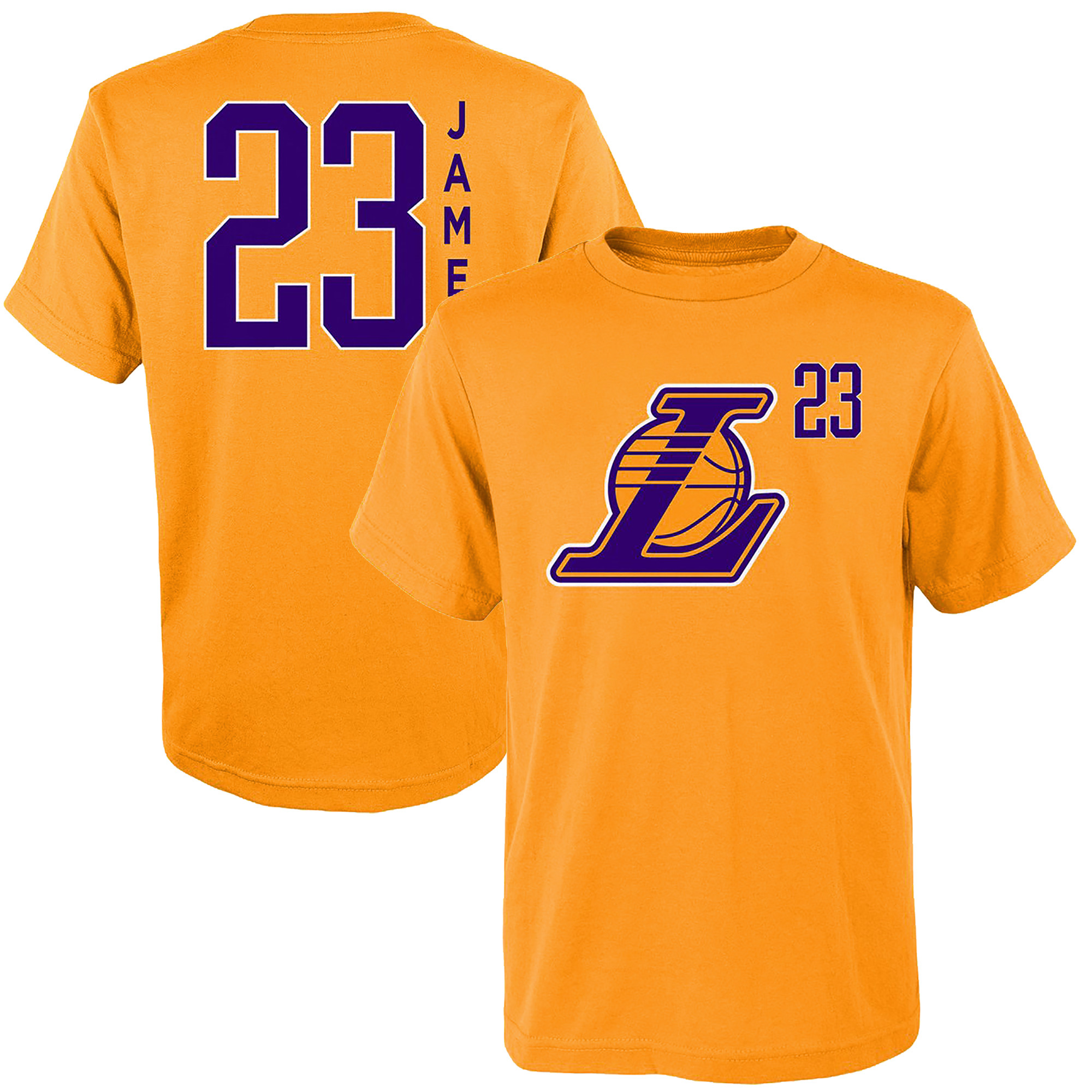 in stock e05e1 59428 Youth LeBron James Gold Los Angeles Lakers Name & Number Team T-Shirt