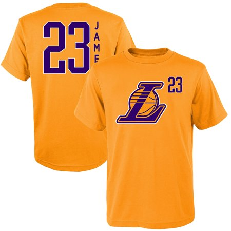 in stock 5125d a6442 Youth LeBron James Gold Los Angeles Lakers Name & Number Team T-Shirt