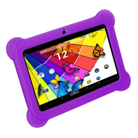 KOCASO [KIDS TABLET] DX768 7 Inch Kids Tablet  - [Android 4.4 /  Quad-Core Processor / Dual Camera] with Stylus, Screen Protector, Earbuds, Carrying Pouch, Protective Silicone Cover - Purple