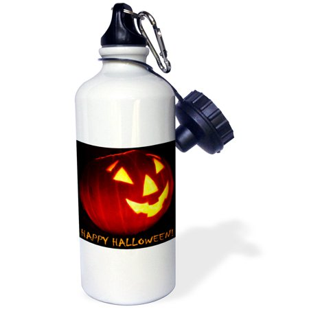 3dRose Happy Halloween Jack o Lantern, Sports Water Bottle, - Halloween Milk Bottle Lanterns