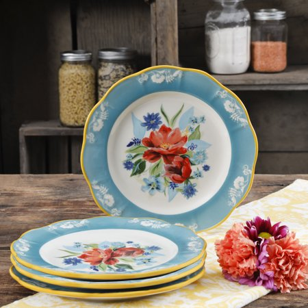 The Pioneer Woman Spring Bouquet 8.9-Inch Salad Plates, Set of (Striking Spring Bouquet)