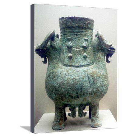 Bronze Ritual Vessel, Shang Dynasty, China, 12th Century BC Stretched Canvas Print Wall Art