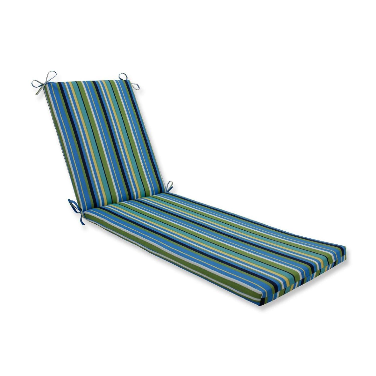"""80"""" Blue Striped UV Resistant Outdoor Patio Chaise Lounge Cushion with Ties"""