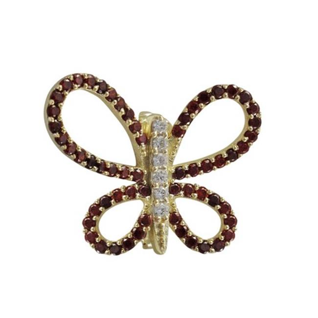 Dlux Jewels Gold Plated Sterling Silver Open Butterfly with Garnet & White Cubic Zirconia Brooch-Pin by Dlux Jewels