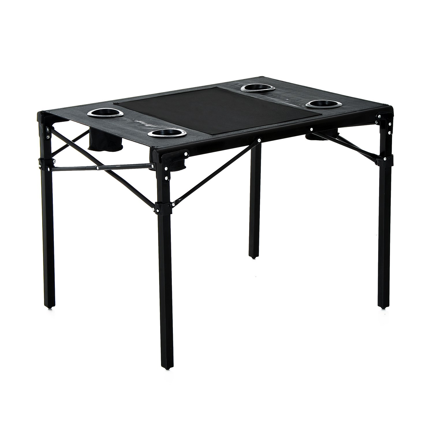 HomCom Folding Camping Table with Cup Holders Black by Aosom LLC