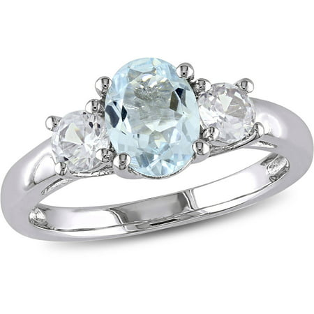 1-5/8 Carat T.G.W. Oval and Round-Cut Aquamarine and Created White Sapphire Sterling Silver Three Stone Ring](3 Birthstone Ring)