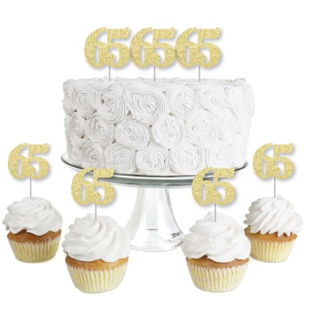 Gold Glitter 65 - No-Mess Real Gold Glitter Dessert Cupcake Toppers - 65th Birthday Party Clear Treat Picks - Set of 24 - 65th Birthday Party Ideas