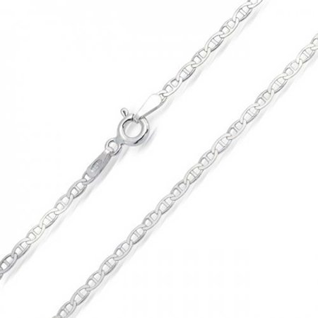 Thin 2MM 925 Sterling Silver Solid Mariner Anchor Chain Necklace For Men For Women Made In Italy 16 18 20 24 Inch 5mm White Pave Mariner Chain