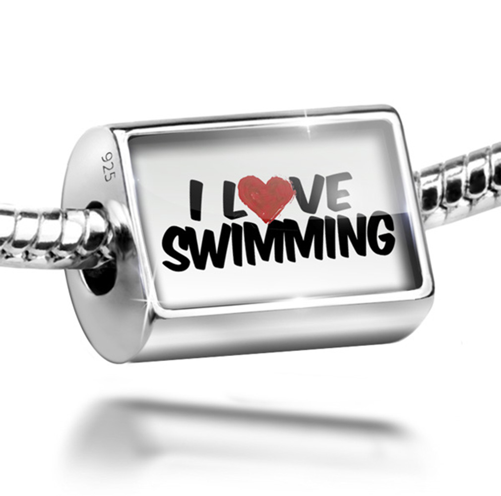 Bead I Love Swimming Charm Fits All European Bracelets by NEONBLOND