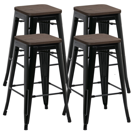 "SmileMart 26"" Counter Height Metal Stool Bar Stools w/ Wood Tops, Set of 4, Black"
