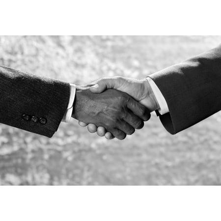 - 1970s Handshake Close-Up African American And Caucasian Businessman Shaking Hands Studio Indoor Print By Vintage