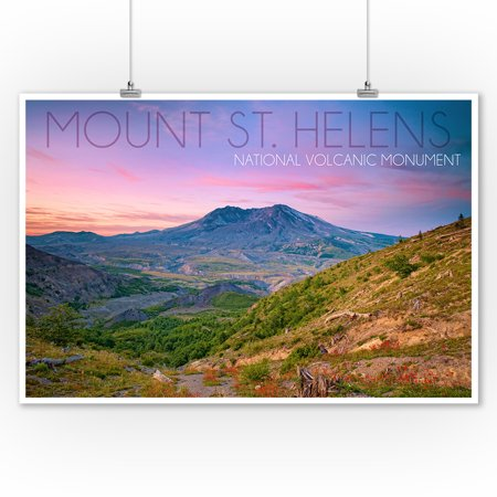 Mount St. Helens, Washington - Twilight Scene - Lantern Press Photography (9x12 Art Print, Wall Decor Travel