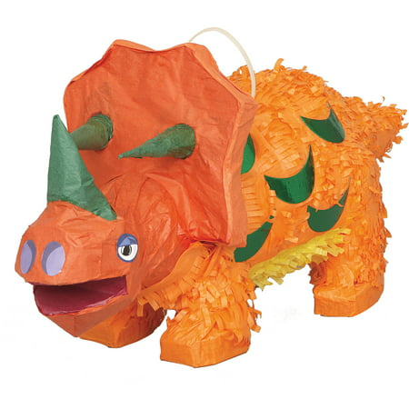 Triceratops Dinosaur Pinata, Orange, 20in x 9in