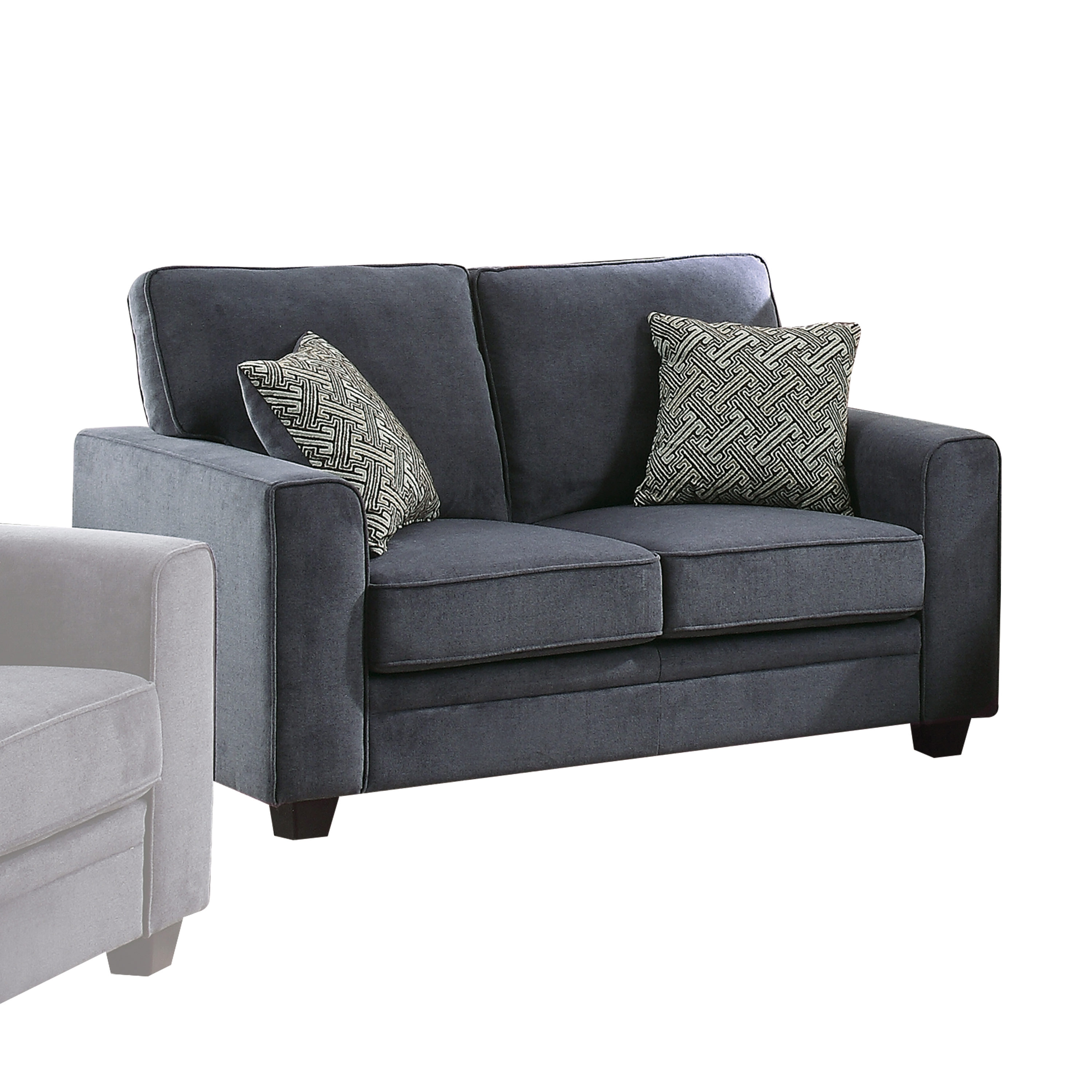 Acme Catherine Blue Fabric Stationary Loveseat Sleeper with 2 Pillows